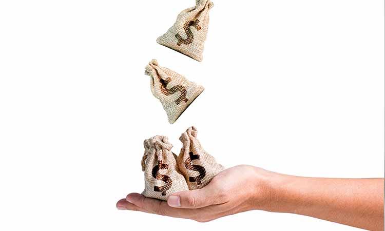 uma mão segurando sacos de dinheiro